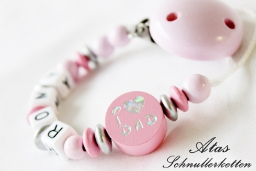 "Schnullerkette ""I Love Mom & Dad "" Wendemotiv Rosa"