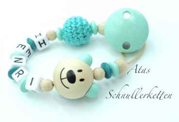 Schnullerkette 3D Teddy Mint