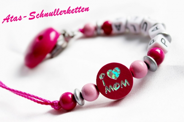 Schnullerkette I Love Mom & Dad Pink