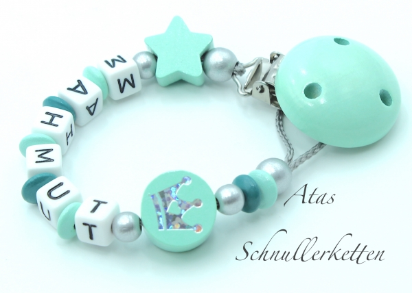 Schnullerkette Glitzerkrone + Stern Mint